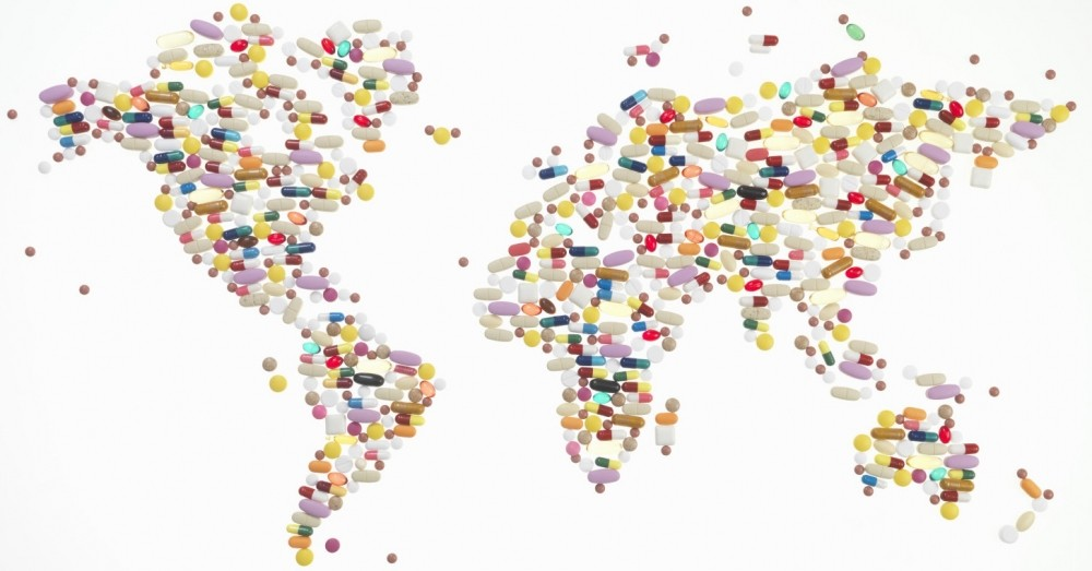 Map of the world in pills & tablets
